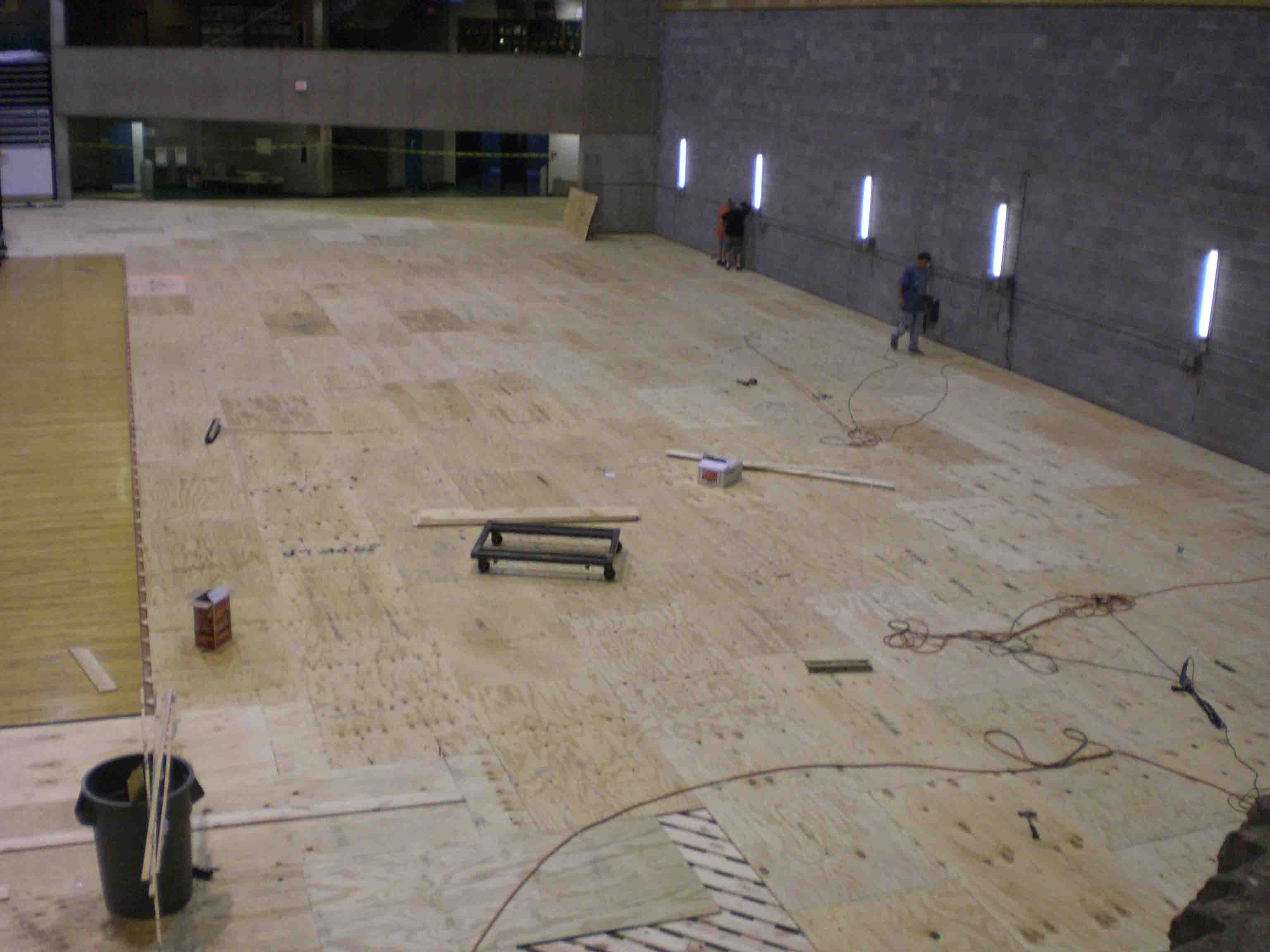 Dynaflex high performance game court floors for indoor gyms for Indoor basketball court installation