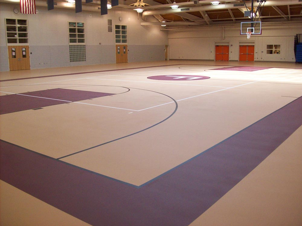 Indoor basketball court flooring installation construction for Indoor basketball court installation
